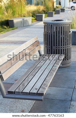 Bench on the town street - stock photo