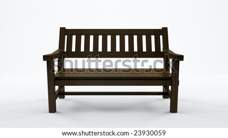 Bench on white background - stock photo