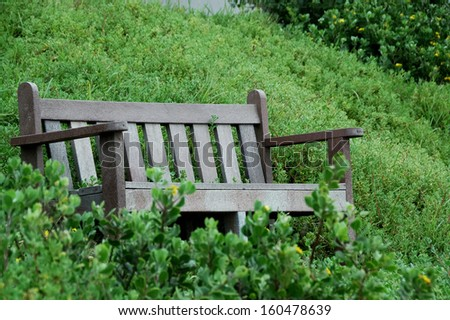 Bench overlooking entrance to the harbour at Port Alfred, South Africa