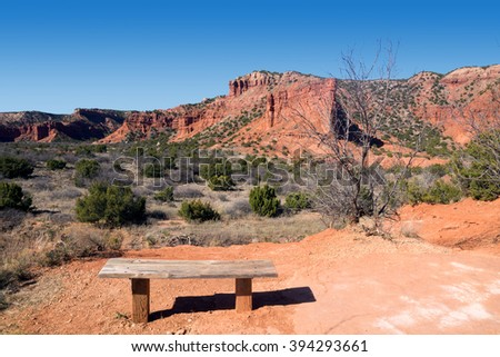 Bench overlooking the Upper Canyon Loop trail. Caprock Canyons State Park, Texas, US - stock photo