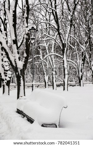 Bench under the snow in the empty park