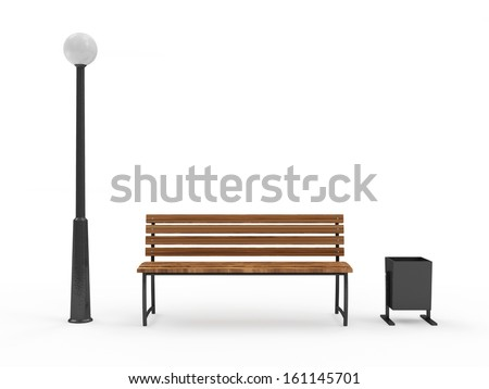 Bench with Street Lamp and bin isolated on white background - stock photo