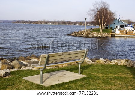 Bench with the view on Lake Winnebago - stock photo