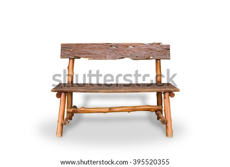 Bench. Wooden. of rough planks and logs. rustic bench of ecological materials. isolated on white background with clipping path - stock photo