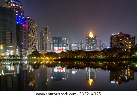 Benchakitti Park bangkok night view in the business district .