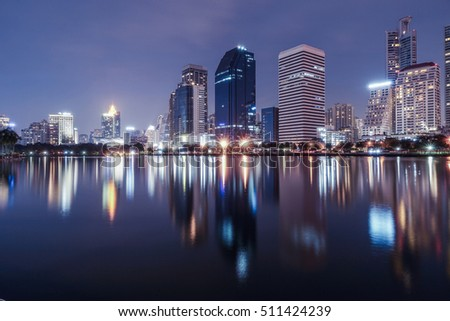 Benchakitti Park in night with reflection, Bangkok Thailand