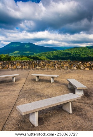 Benches and views of the Appalachian Mountains from Bald Mountain Ridge scenic overlook along I-26 in Tennessee. - stock photo