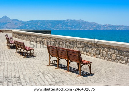 Benches at the quay in Heraklion. Crete, Greece, Europe - stock photo