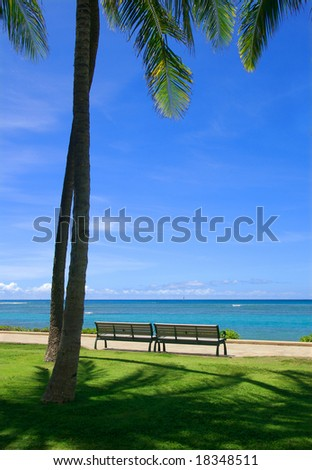 Benches by the beach - stock photo