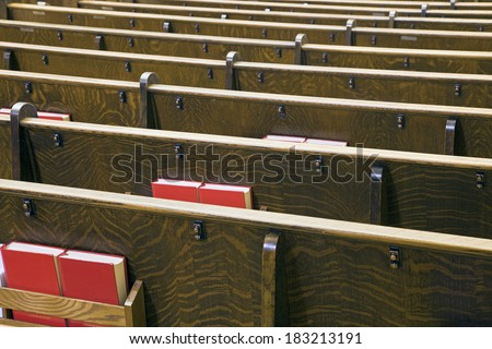 Benches in the church - seen in Minnesota, USA - stock photo