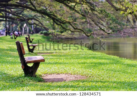 Benches in the park by the lakeside - stock photo