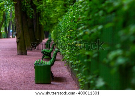 Benches in the Summer Garden (Russian: Letniy sad) in Saint Petersburg, Russia - stock photo
