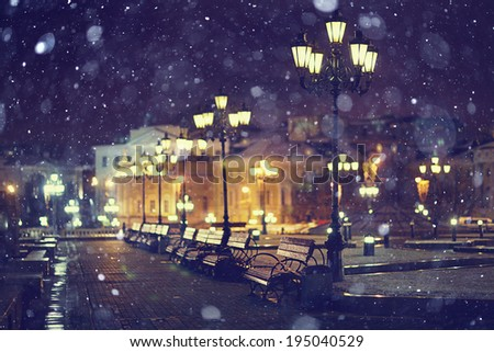 benches night city - stock photo