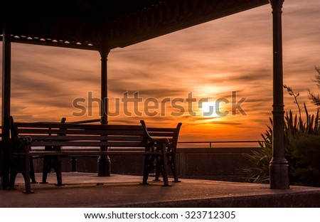 Benches waiting for sunset