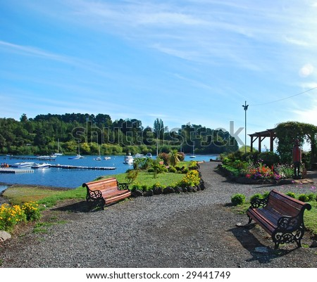 benches with a lake view - stock photo
