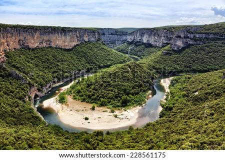 Bend of the river Ardeche near Vallon-Pont d'arc - stock photo