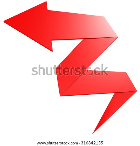Bend red arrow image with hi-res rendered artwork that could be used for any graphic design. - stock photo