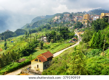 Bending road in Sapa town at highlands of Lao Cai Province, Vietnam. Sa Pa is a popular tourist destination of Asia.