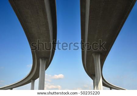 Beneath one of Los Angeles' freeways. - stock photo