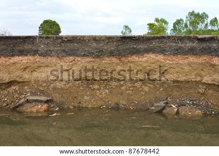 Beneath the asphalt. Layer of soil beneath the asphalt road. - stock photo