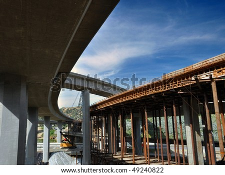 Beneath the I-5 and I-14 interchange in Los Angeles. - stock photo