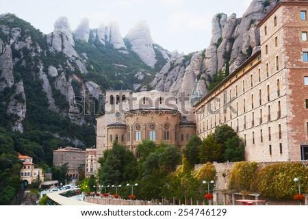 Benedictine Abbey at Montserrat, Santa Maria de Montserrat, near Barcelona, Catalonia, Spain - stock photo