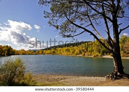 Benedictine Lake in Pecos, New Mexico - stock photo