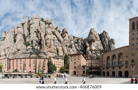 Benedictine monastery of Montserrat (Catalunya-Spain). Belonging to the region of Bages (Barcelona province) at a height of 720 meters above sea level. March 2016 - stock photo