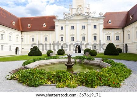 benedictine monastery with garden in Altenburg, Lower Austria, Austria - stock photo