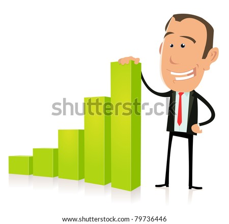 Benefits Bar Graph/ Illustration of a happy cartoon businessman, before subprimes crisis - stock photo