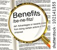 Benefits Definition Magnifier Shows Bonus Perks Or Rewards - stock photo