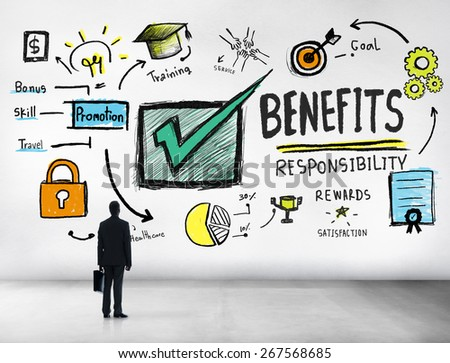 Benefits Gain Profit Earning Income Businessman Goal Concept - stock photo