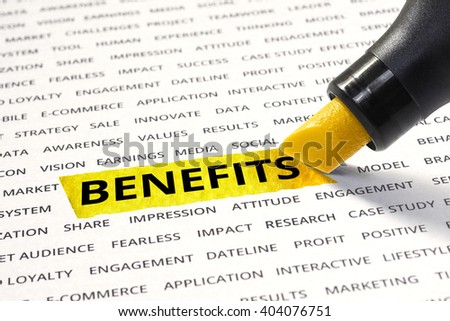 Benefits message highlighted with marker on paper of other related words. For direction of business marketing  strategy success concept - stock photo