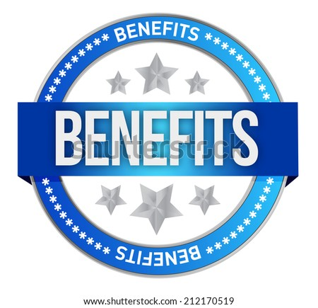 benefits seal illustration design over a white background - stock photo