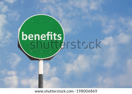 Benefits Sign - stock photo