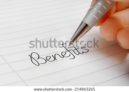 Benefits word handwriting