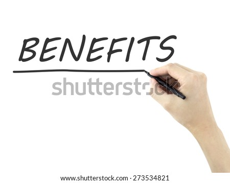 benefits word written by man's hand on a transparent board - stock photo