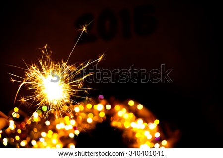 Bengal fire,colorful bokeh christmas,Christmas background, New Year background - stock photo