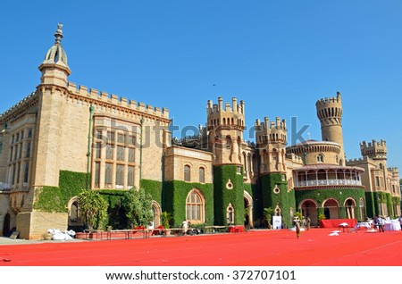 BENGALURU, INDIA - JANUARY 30, 2016: Bangalore Palace is Tudor-style architecture with woodcarvings and was built by Wodeyar King in 1887.