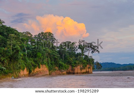 Beni river at sunset, Bolivia - stock photo