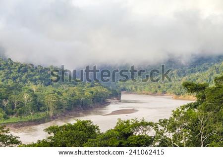 Beni river in Bolivian jungle (Rurrenabaque region) at dawn - stock photo