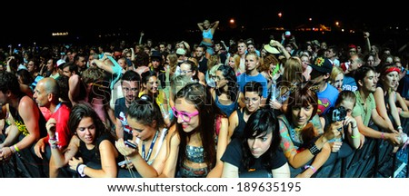 BENICASIM, SPAIN - JULY 19: People (fans) at FIB (Festival Internacional de Benicassim) 2013 Festival on July 19, 2013 in Benicasim, Spain.
