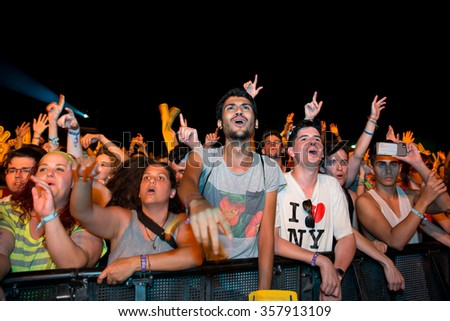 BENICASSIM, SPAIN - JUL 16: Crowd in a concert at FIB Festival on July 16, 2015 in Benicassim, Spain. - stock photo