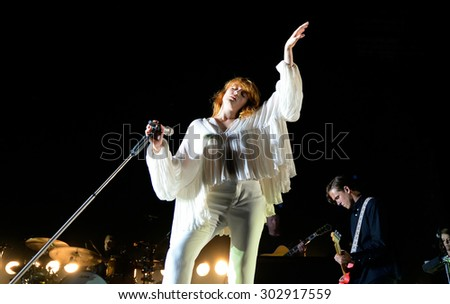 BENICASSIM, SPAIN - JUL 16: Florence and the Machine (pop band) in concert at FIB Festival on July 16, 2015 in Benicassim, Spain. - stock photo