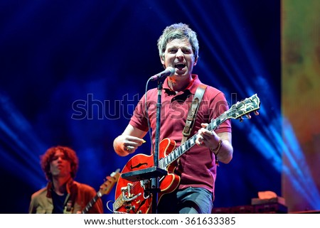 BENICASSIM, SPAIN - JUL 17: Noel Gallagher (British musician, singer, guitarist, and songwriter) performs at FIB Festival on July 17, 2015 in Benicassim, Spain.