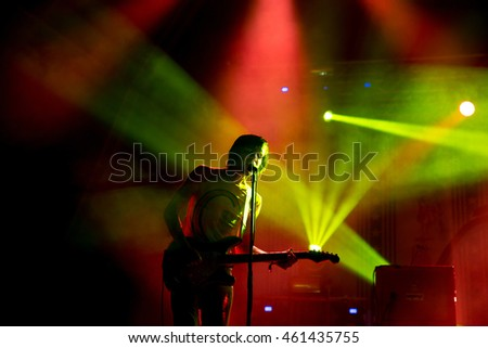 BENICASSIM, SPAIN - JUL 19: The Cribs (band) in concert at FIB Festival on July 19, 2015 in Benicassim, Spain.