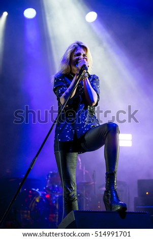 BENICASSIM, SPAIN - JUL 16: The Kills (rock band formed by the singer Alison Mosshart, VV, and guitarist Jamie Hince) perform in concert at FIB Festival on July 16, 2016 in Benicassim, Spain.
