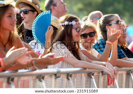 BENICASSIM, SPAIN - JULY 17: Crowd in a concert at FIB Festival on July 17, 2014 in Benicassim, Spain. - stock photo