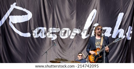 BENICASSIM, SPAIN - JULY 17: Razorlight ( English indie rock band) performs at FIB Festival on July 17, 2014 in Benicassim, Spain. - stock photo
