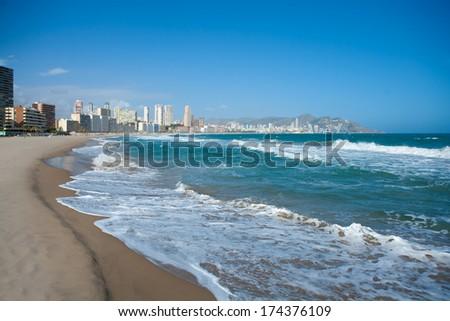 Benidorm Alicante beach buildings and Mediterranean sea of Spain - stock photo